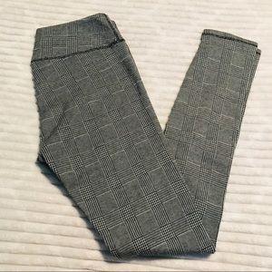 Kyodan Black Gray Plaid Heavy Knit Leggings Large